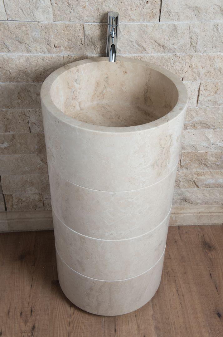 Lavabo Freestanding In Travertino Colonna Travertino