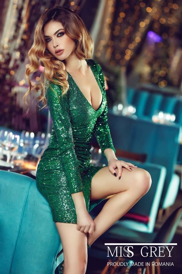 Green short evening dress made from sequins, for the New Year's Eve party