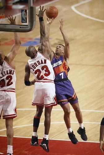 The GOAT stuffs KJ during the finals in Chicago.