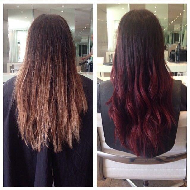 Brown to red and brown to blonde ombre hair