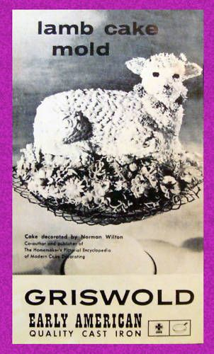 Traditional Lamb Cake Recipe from Griswold Vintage Mold Insert