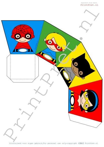 Superhelden traktatie bakje. http://printpret.nl/Superheld%20feestpakket