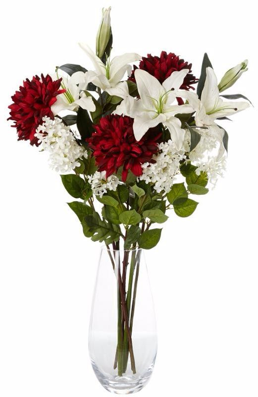 Red chrysanthemum and lily arrangement