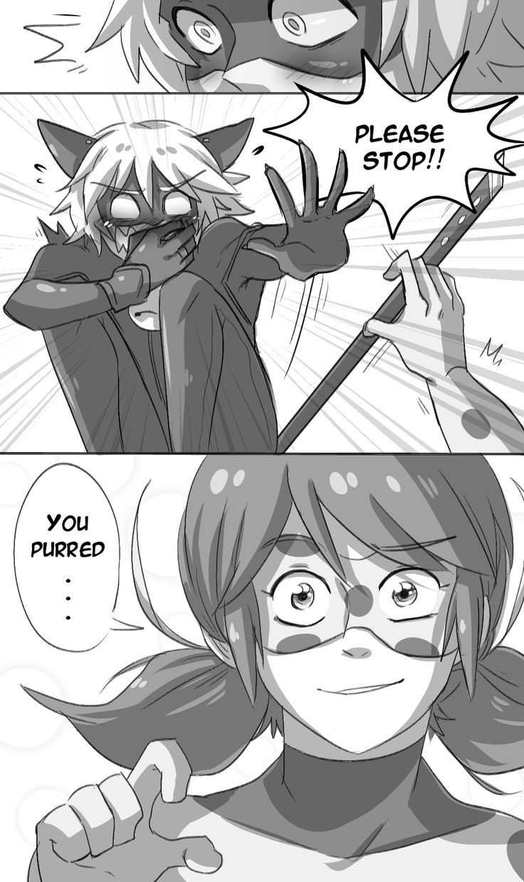 """cjs-scribbles: """" Purring Problems. A little comic about how Chat's cat tendencies can sometimes embarrass him. Especially around Ladybug. """""""