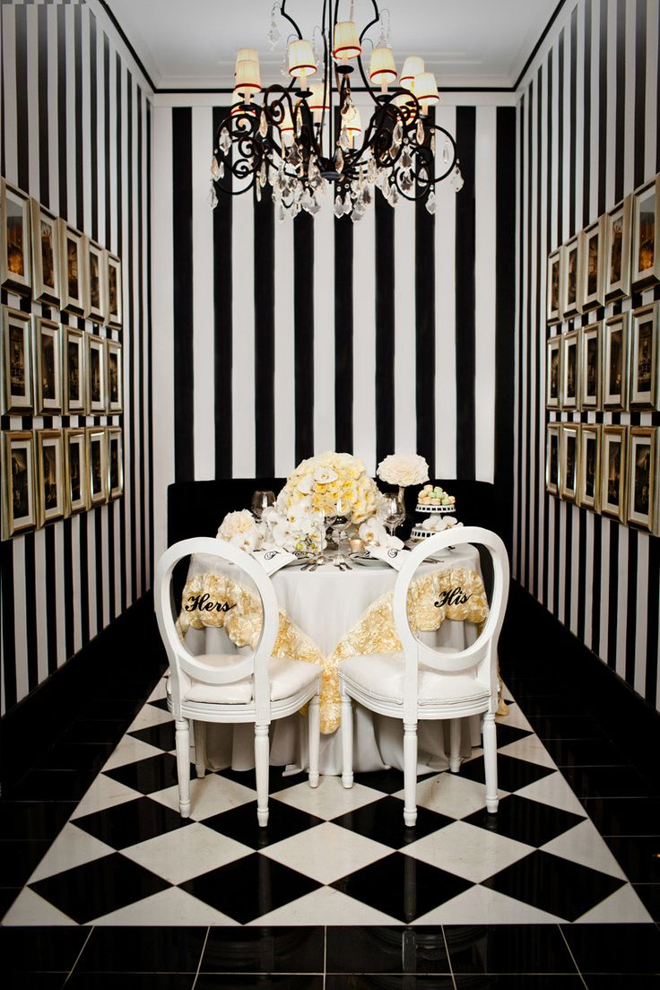 Decor Champagne Black And White Striped Wall Checkered Tile Chandeleir Custom Chairs His Her Floral Table Linen Ivory