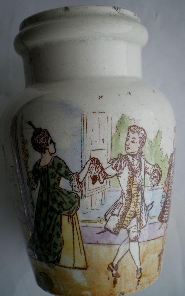 Pot à moutarde ou à confiture 1900, peint polychrome, signé KG Lunéville: Le BAL