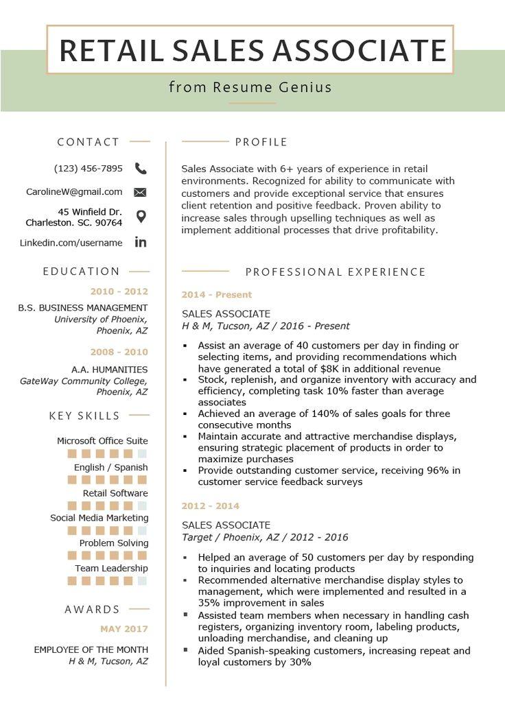 Retail Sales Associate Resume Sample Writing Tips Resume Genius Sales Resume Examples Retail Resume Examples Retail Resume