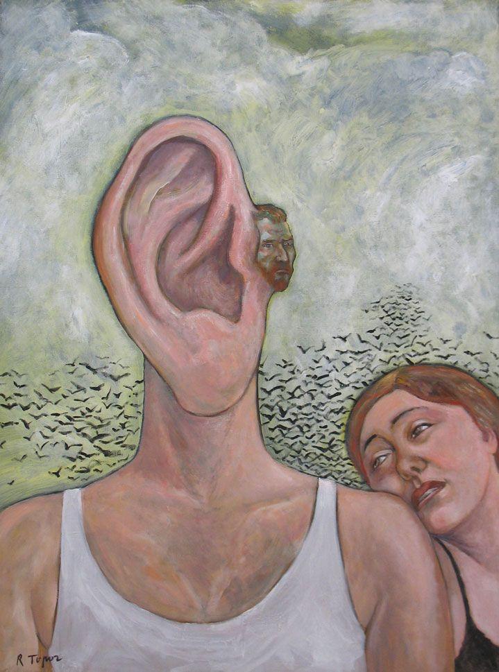 By Roland Topor L'Oreille de Vincent, Acrylique sur toile, 130 x 97, 1997