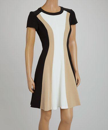 Sandra Darren Black & Tan Panel Cap-Sleeve Dress - Women & Plus