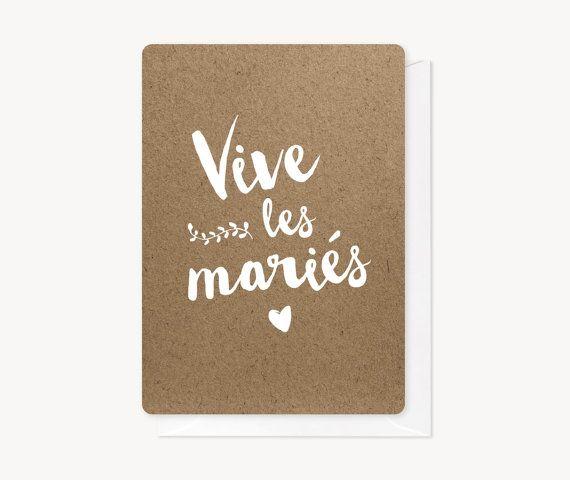 Carte Vive les mariés faite à la main.  Format 10,5x14,8cm, impression sur papier rives texturé 250g, finition bords arrondis. Vendue avec