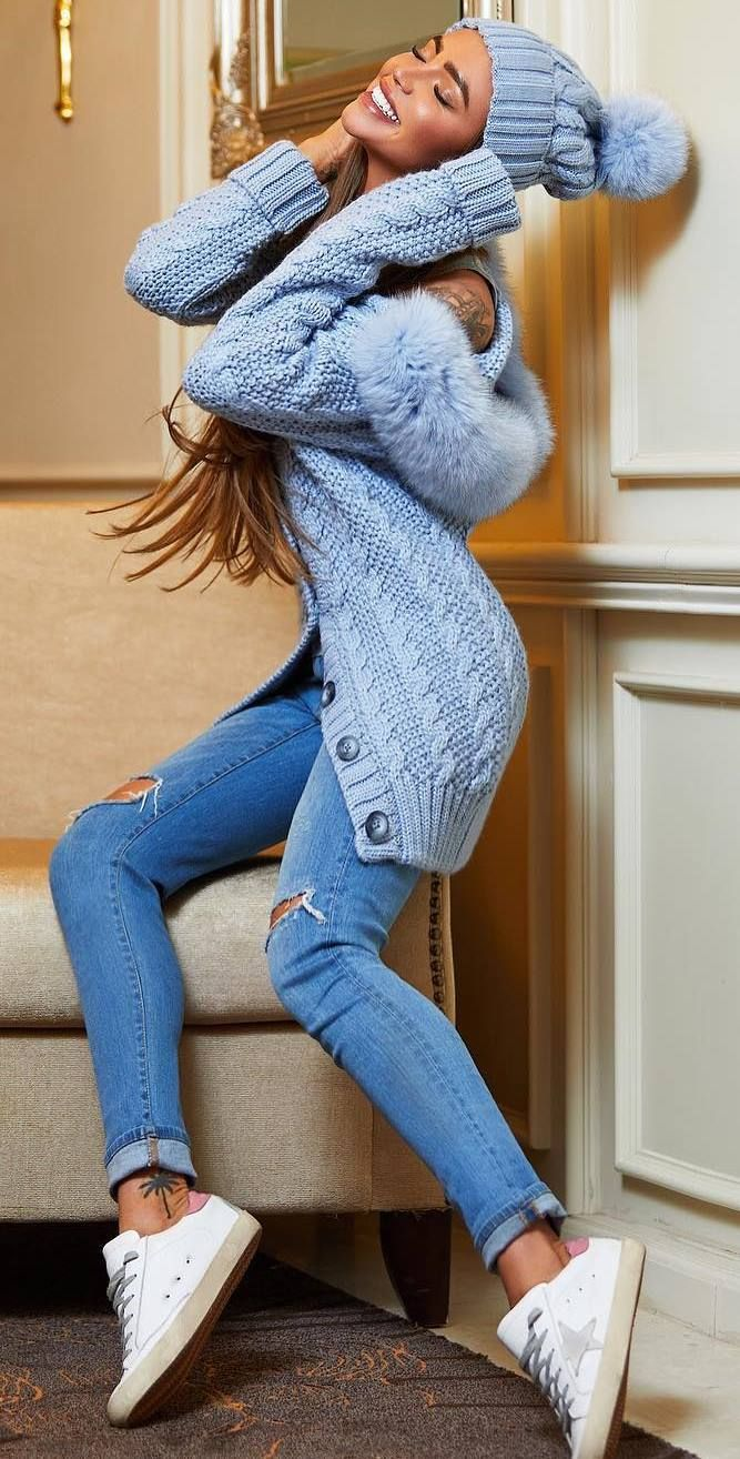 cozy winter outfit_knit hat + blue cardigan + skinnies + sneakers #omgoutfitideas #style #clothing