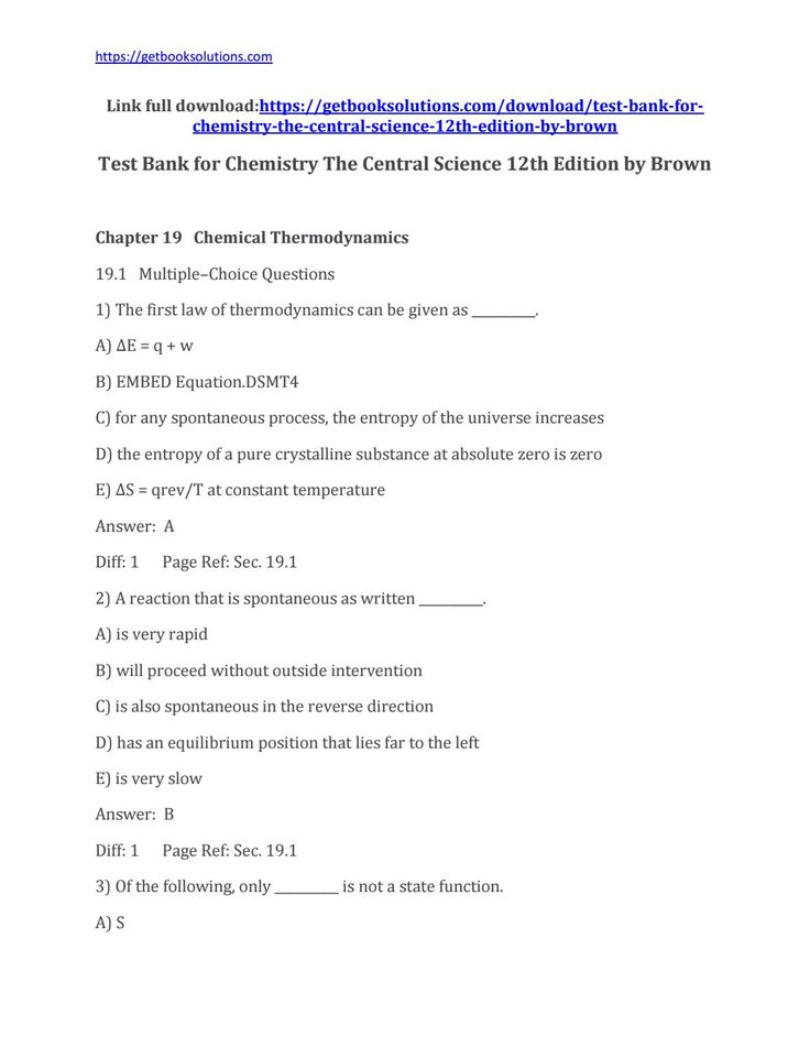 Download Test Bank For Chemistry The Central Science Th Edition