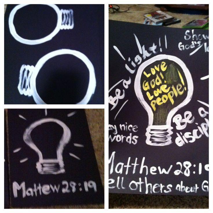 Sunday morning teaching: Matthew 28:19 craft Lesson: The Great Commission Telling others about God, saying nice words to others, and being a light when it's not easy.  Paint a light bulb on a black sheet of paper.  Have child color it in with yellow or white crayons, or even chalk would work. For older kids, they can write the scripture or other words about this bible lesson.