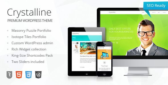 Crystalline - Ultimate Business WordPress Theme   http://themeforest.net/item/crystalline-ultimate-business-wordpress-theme/4645701?ref=damiamio             	 Current version – 1.2 (see Changelog)  Crystalline Latest – 1.3 custom cmsmasters admin version 	 Crystalline Wordpress theme has a revolutionary in-built functionality that lets you easily turn it from a classic corporate theme into a spectacular portfolio, as well as a functional blog or a product-presentation website. The design for…