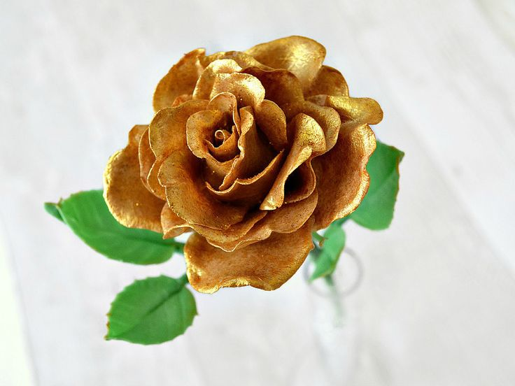 Golden wedding anniversary, 50th anniversary gifts, Gold rose porcelain flower, Anniversary gift for parents, Present for wife, Gold decor - pinned by pin4etsy.com