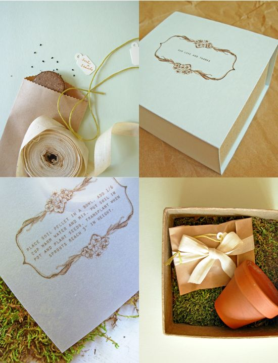 How cute is this: Wedding favours (SEEDS) http://www.projectwedding.com/wedding-ideas/diy-seedling-kit-favors
