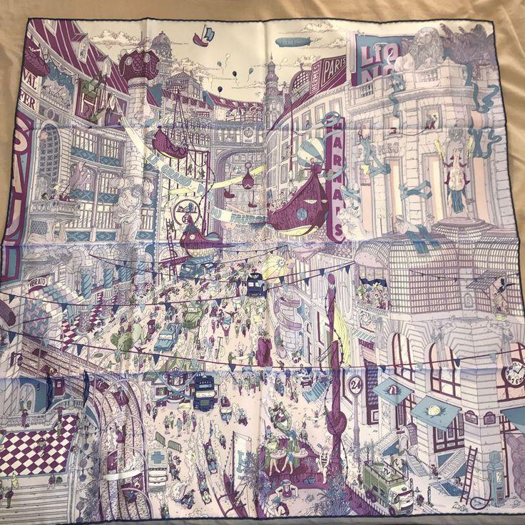 NWT Hermes 90cm silk scarf Carre Le Grand Prix Au Faubourg #Hermes