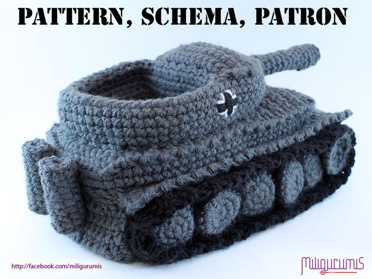 PATTERN for Tiger 1 Tank  - Panzer Crocheted Slippers. $6,99, via Etsy.