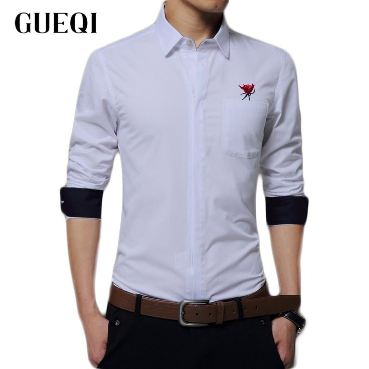 New Arrived 2017 Embroidered Flower Mens Work Shirts Brand Long Sleeve Dress Shirts White Slim Fit Male Shirts Men Clothes