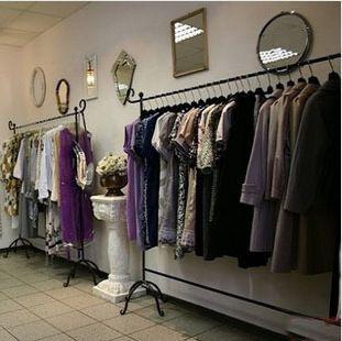 Muro di ferro espositori di abbigliamento sul muro appendiabiti abbigliamento mensola di esposizione abbigliamento donna