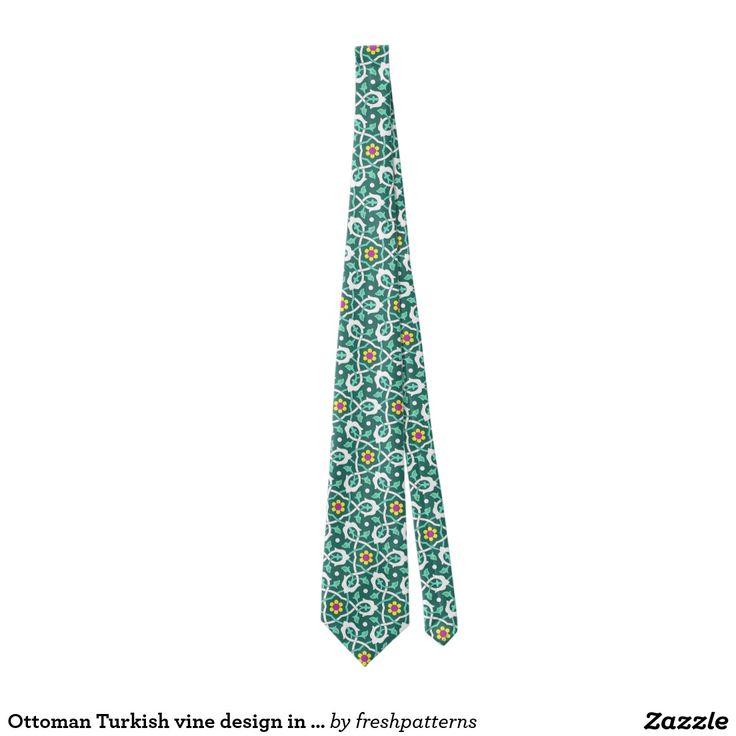Ottoman Turkish vine design in green and white Tie