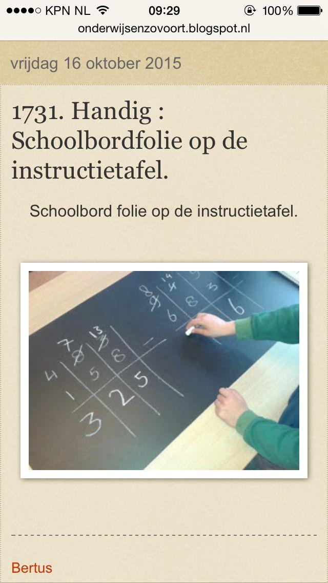 Handig: schoolbordfolie (of whiteboardfolie) op de instructietafel. Iets minder permanent? Lamineer vellen papier en plak die op je instructietafel.