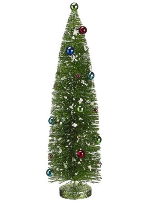 """18"""""""" Pre-Decorated Flocked Glitter Bottle Brush Christmas Tree - Unlit"""