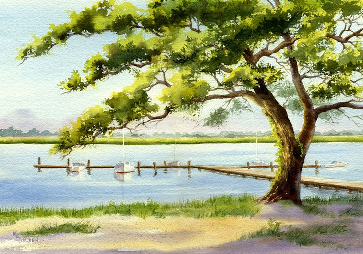 Archival dye print from a watercolor by Mary Ellen Golden of Edgewater dock on the intracoastal waterway at Wrightsville Beach, North Carolina.