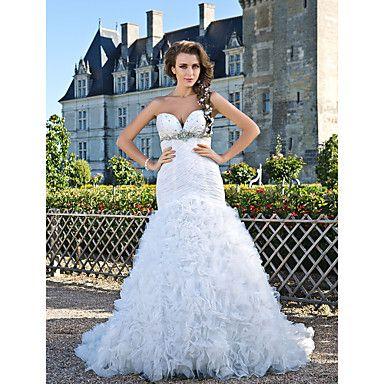 Trumpet/Mermaid Sweetheart Strapless Chapel Train Taffeta And Organza Crystal Detailing Wedding Dress – USD $ 349.99