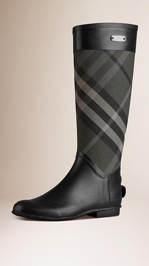 Charcoal Check Panel Rain Boots - Image 1