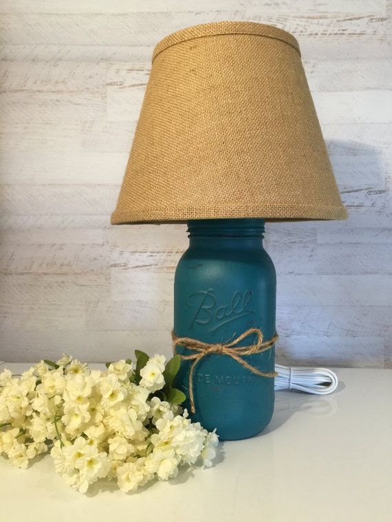 Distressed Mason Jar Lamp in Teal with by masonjarlampsandmore