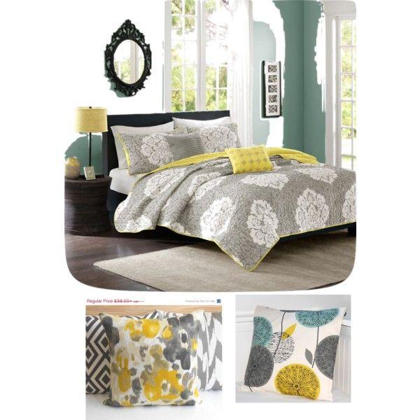 Yellow, Grey & Teal Bedroom Set