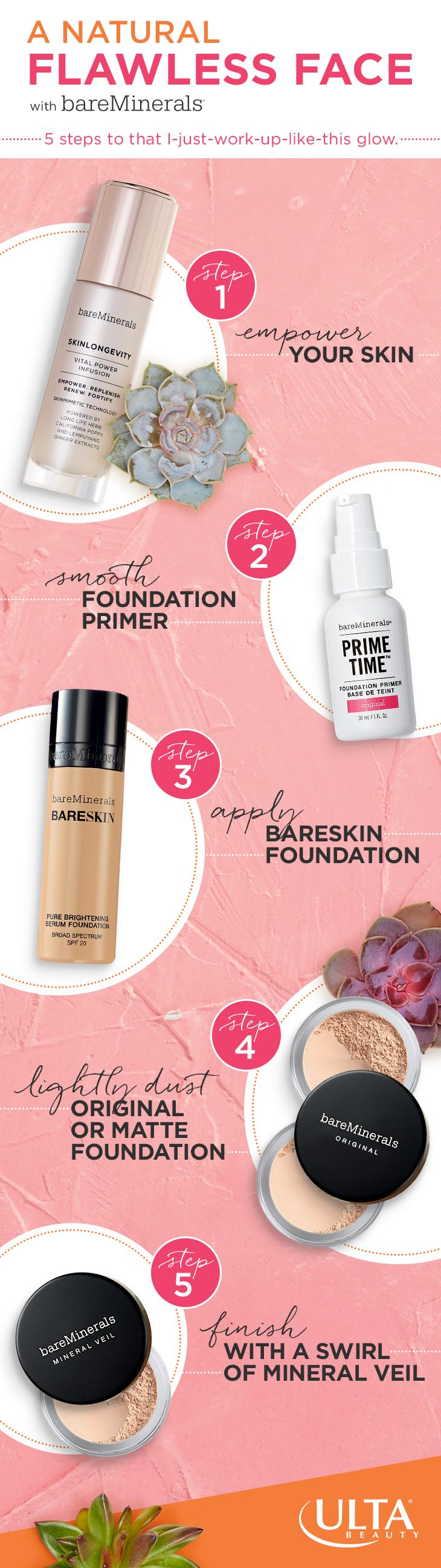 Getting a flawless face is a no-brainer with five simple steps from bareMinerals, including Skinlongevity, an intense anti-ager & their perfecting Bareskin foundation, available at Ulta Beauty.