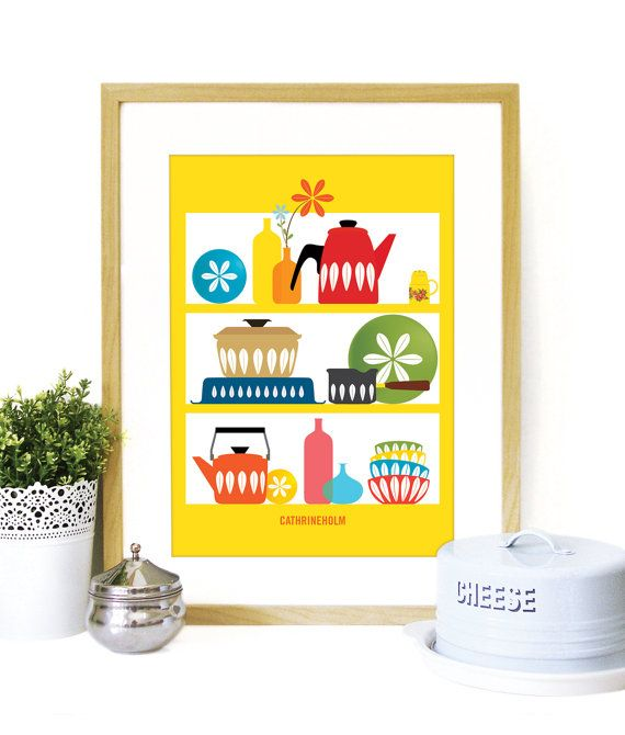 Cathrineholm Mid Century Modern shelves Cathrineholm enamelware Poster Kitchen wall art YELLOW background - A3 size - mid century kitchen