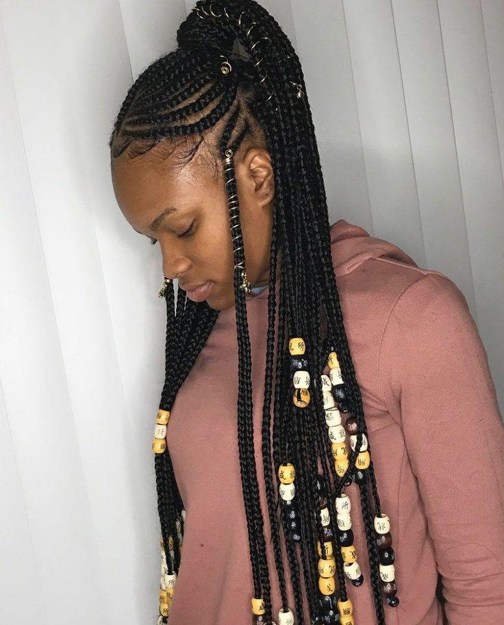 Braided Ponytail With Beads: Fulani Braids With A High Ponytail #fulanibraids