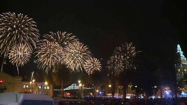 Super Bowl City fireworks opening night, dumps plastic into the Bay. We will monitor repeat tonight. http://goo.gl/90Pq5M