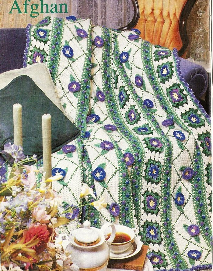 99 best cozy afghan patterns images on pinterest afghan crochet morning glory afghan crochet pattern floral blanket throw home decor p 173 dt1010fo
