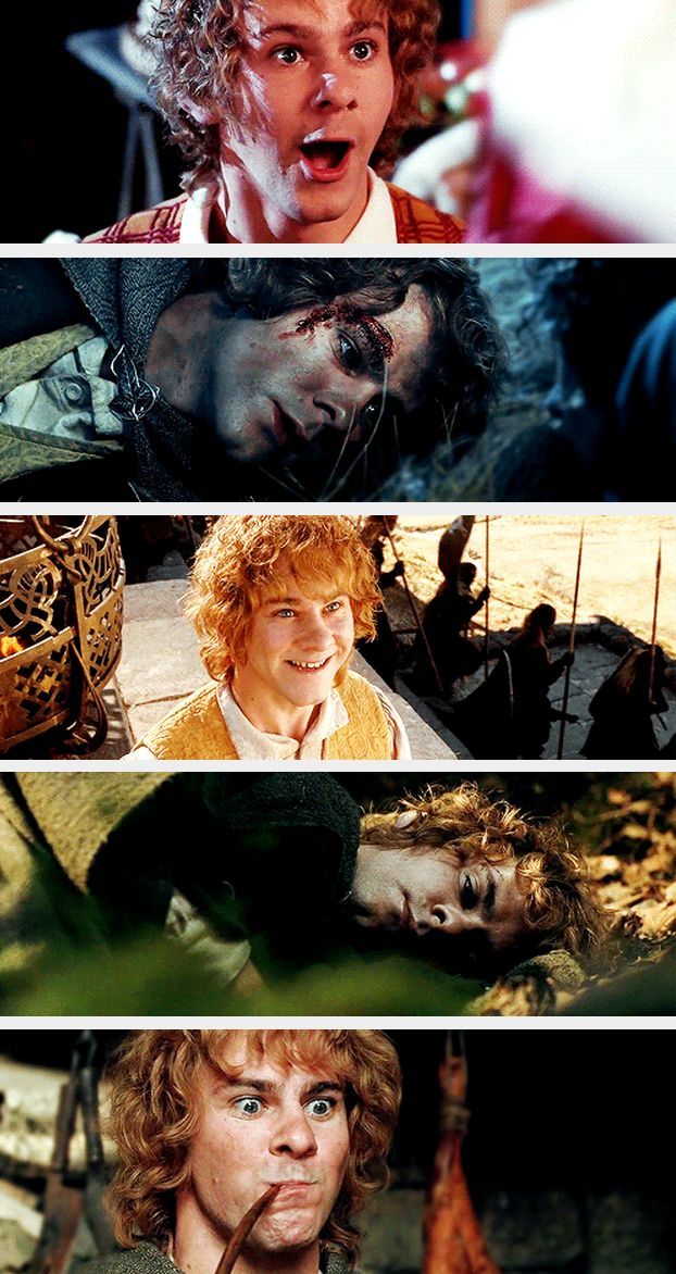 In LotR, Merry was often considered, and was described by Tolkien as, the most perceptive and intelligent of the Hobbits: for example, even before Bilbo Baggins left The Shire, he knew of the One Ring and its power of invisibility. He guarded Bag End after Bilbo's party, protecting Frodo from the various and often unwanted guests. He had a knowing manner and an innocent, teasing sense of humour.