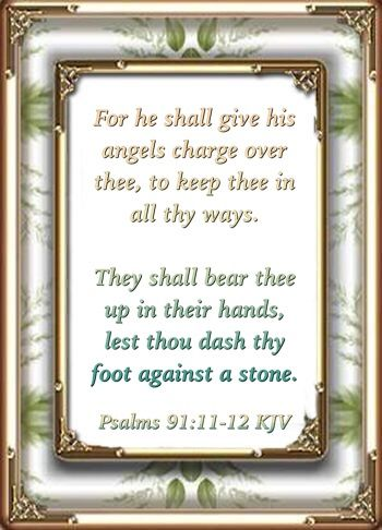 For he shall give his angels charge over thee, to keep thee in all thy ways.  They shall bear thee up in their hands, lest thou dash thy foot against a stone.  Psalms 91:11-12