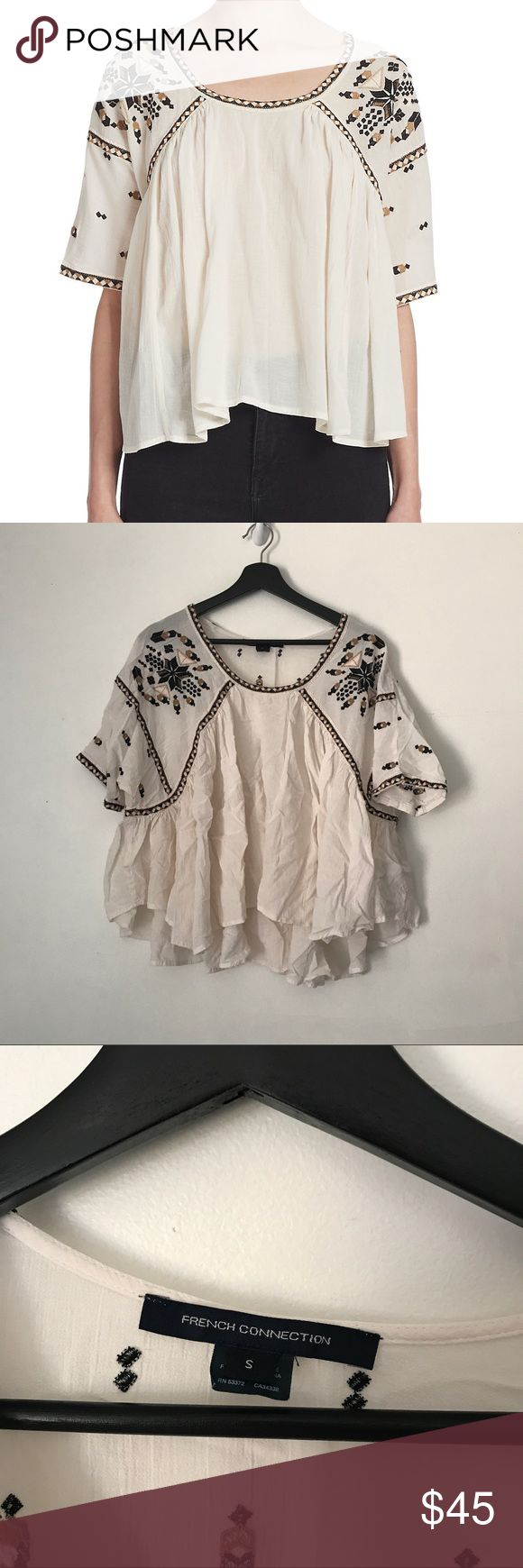 French Connection Embroidered Flowy Peasant Blouse Adorable natural colored embroidered flowy peasant blouse from French Connection. Size small. Good pre worn condition! No trades or try ons. French Connection Tops