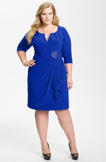 Free shipping and returns on Adrianna Papell Embellished Matte Jersey Sheath Dress (Plus Size) at Nordstrom.com. A round flower of polished stones anchors the wrapped swag draping the skirt of a stretchy matte-jersey sheath shaped with a pleated surplice bodice.