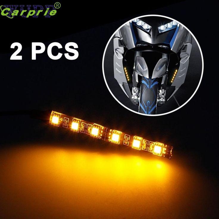 Nuovo Arrivo 2x Mini Strip Nero led del motociclo segnale di girata Universale Ambra luci di Striscia 6LED Ap511