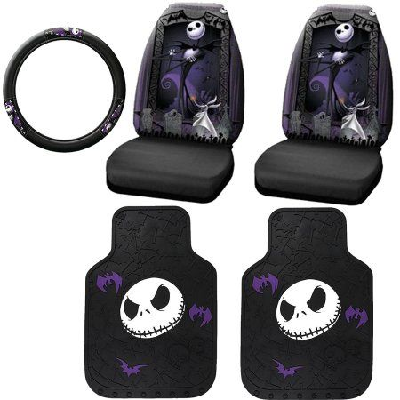 Buy 5PC Nightmare Before Christmas Jack Skelats, Seat Cover and Steering Wheel Cover at Walmart.com