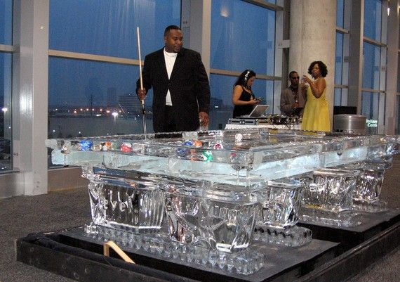 Perfect Regulation Size Pool Table Ice Sculpture By IceAlchemy