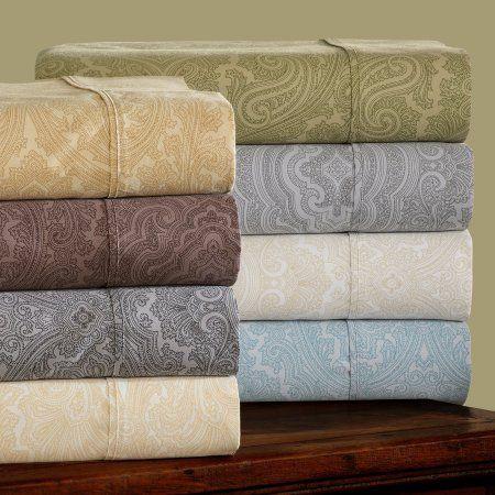 Superior 600 Thread Count Wrinkle-Resistant Luxury Cotton Italian Paisley Sheet Set, Gray