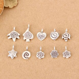 泰国清迈进口DIY手工串珠手链饰品配件材料 苗族个性复古泰银挂件
