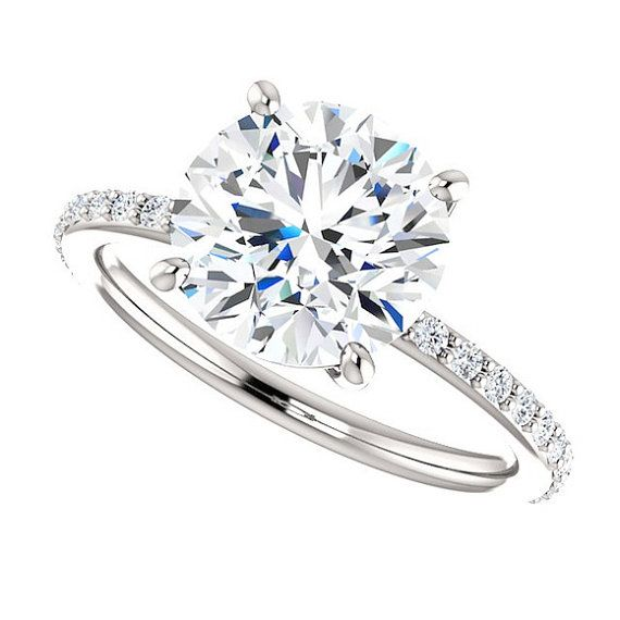 Engagement Ring Conflict Free Diamonds 3 Carats Round Cut