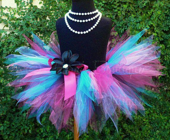 Baby Tutu - 1st Birthday Girls Tutu - Pink Black White Turquoise - Dance Party Diva - Sewn 8 Infant Toddler Pixie Tutu - up to 12 months via Etsy