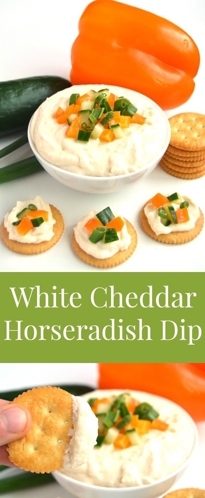 White Cheddar Horseradish Dip is ready in 5 minutes, has just 4 ingredients and is full of flavor with sharp white cheddar cheese and tangy horseradish! Topped with finely diced vegetables and served with crackers for an easy appetizer. www.nutritionistreviews.com #FamilyRITZpiration #ad