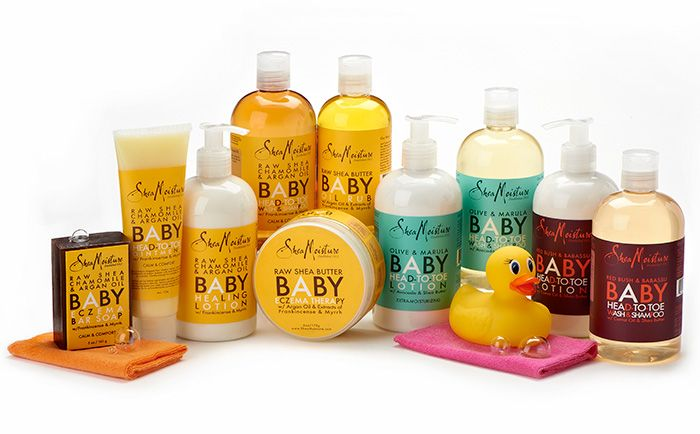 Shea Moisture. Majority black owned (controversially). Diverse products including a line for babies with products like: shampoos, conditioners, lotions, baby oil, eczema bars, and soothing balms. They also have massage oils, nursing balms, and stretch mark creams for moms. (New York) - widely available